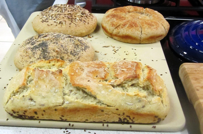 A selection of breads made with Pernille's simple dough recipe