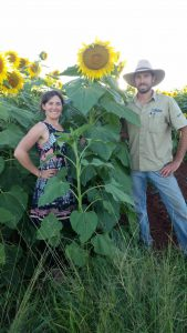 Tracey & Jonothan show the height of the ripe sunflowers