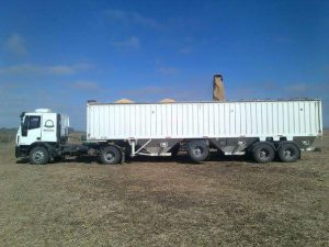 Grain is loaded from hopper directly to the trucks which take it to the mill.