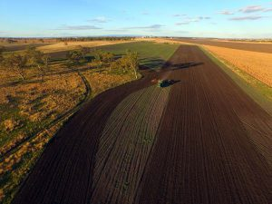 View from the drone: Rob starts to plant his wheat crop