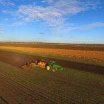 공중 촬영 화면: 5월에 밀을 재배한다.