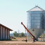 The grain silos are used to store the freshly harvested grain before it's trucked to Kialla.