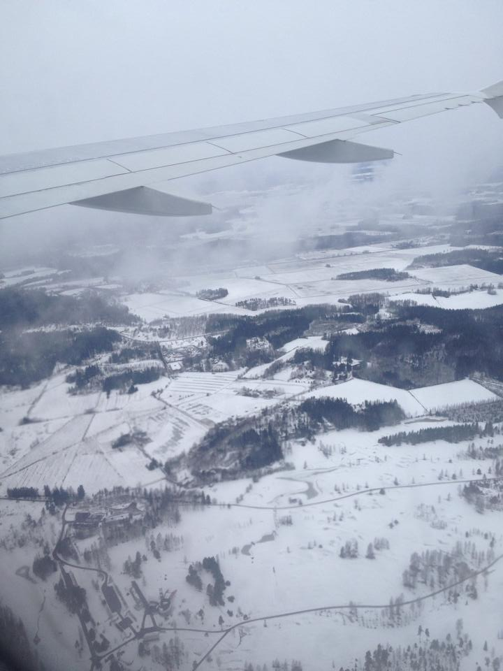 Flying into Finland over they snow covered landscape