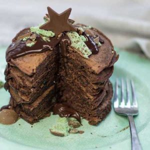 Double chocolate pancake stack