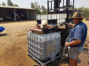 Stephen preps the bio-fertiliser