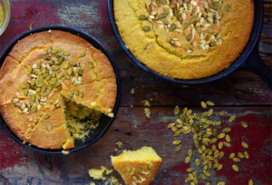A traditional style cornbread with pumpkin puree