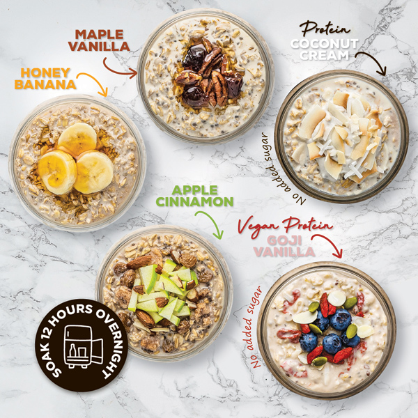 Overnight oats come in 5 different flavours